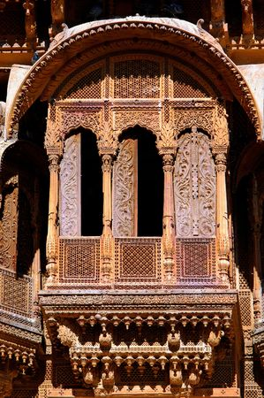 India, Rajasthan, Jaisalmer: patwa aveli ; this aveli is famous for his intricate stone carved balconies; generally havelis are noted for their fantastic frescoes photo