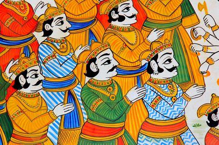 India, Udaipur: fresco en una pared; colorido indio hombres en traje tradicional; antiguas pinturas de Mehwar Foto de archivo - 2848332