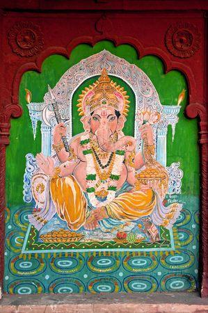 India, Jaisalmer: pintura en la pared, la representaci�n de un elefante; probablemente el gos Ganesh Foto de archivo - 2861793