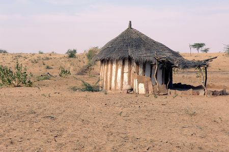 thar: India, Thar desert: traditional house; circular architecture for this house in the desert