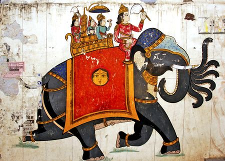 war decoration: India, Bundi: fort and  palace; one of the walls paintings of the fortress with an elephant and his rider; a war representation