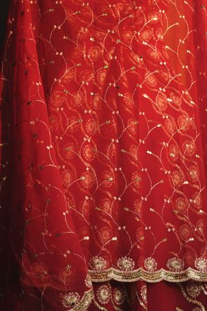 India Jaipur Wonderful Saree in red color; silk and embroidery