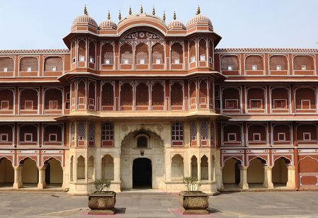 maharaja: India Jaipur city palace; this is the main palace of the famous pink city founded in 1727 by the king maharaja jai sing; the palace have a serie of courtyards and gardens;