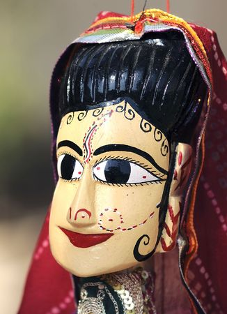 India Jaipur marionnette; traditional indian handcraft; representation of a woman with a traditional dress photo