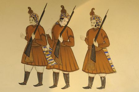 India Jaipur fresco on a wall representing some solders