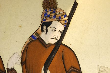 solder: India Jaipur fresco on a wall representing a  solder
