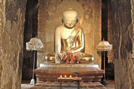 Myanmar, Bagan: Statue in a pagoda photo