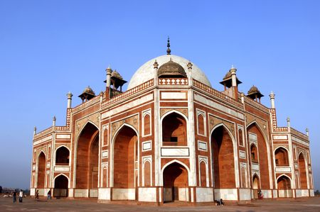 India, Delhi: Humayun tomb; this complex in mughal style date from the 16th century; is listed as a world heritage site