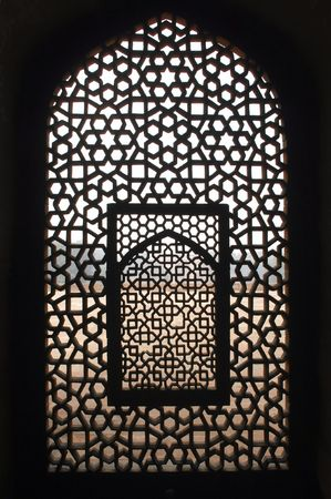 India, Delhi: This window belongs to an ancient building; the tomb complex of Ali Isa Khan niazi which is situated beside the  Humayun tomb; the humayun tomb  is listed as a world heritage site