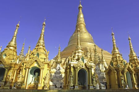 Myanmar, Yangon: Shwedagon pagoda, one of the most impressive pagoda in the world. photo
