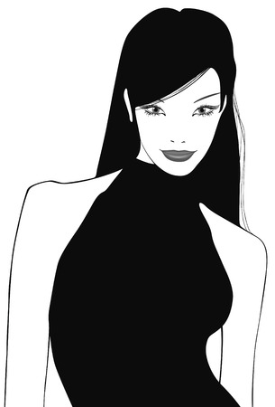 young asian girl: vectorial illustration of a lovely chinese girl on a white background