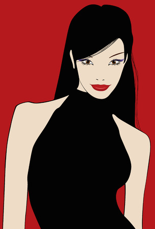 vectorial illustration of a lovely chinese girl on a red background