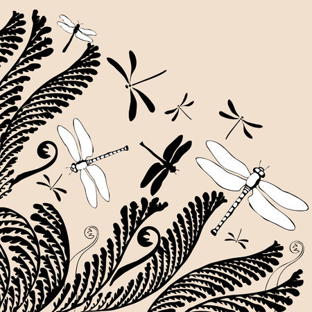 ferns: vectorial illustration of floral ornament with dragonflies