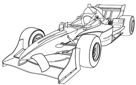 slick: Perspective sketchy illustration of  a formula racing car