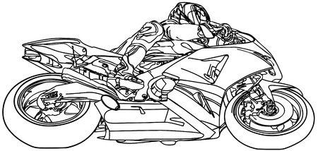 motorsport: sketchy illustration of a sport race motorbike on white background