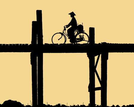 birma: Vectorial illustration of a woman s silhouette crossing the  U Bein bridge in Amarapura  Myanmar