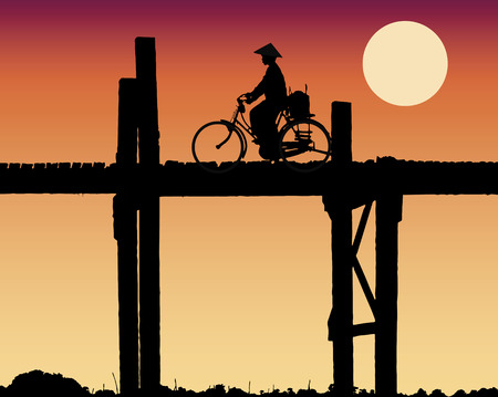 Vectorial illustration of a woman s silhouette crossing the  U Bein bridge in Amarapura  Myanmar