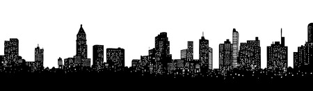Skyline of an imaginative city in America Vector