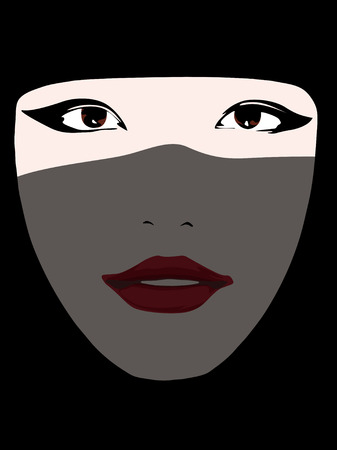 young islamic woman covered with a black veil: vector; typical portrait from arabic countries Illustration