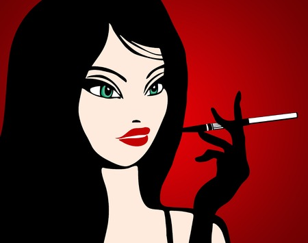 smoking woman: Illustration of a girl smoking in a bar: vector; red bacground and a beautiful black hair woman
