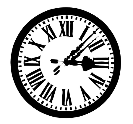 midnight hour: Ancient round clock with roman numbers ; vector in black and white