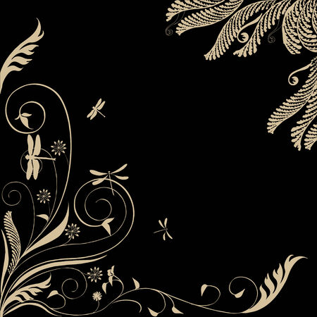 Nice Floral ornament with dragonflies: black background with white leaves, Vector Çizim