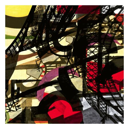eifel tower: Eifel tower: Art composition in black; red and yellow colors; an abstract painting