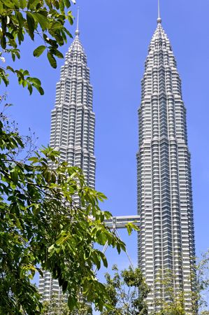 resemble: Malaysia, Kuala Lumpur towers, the worlds tallest twin buildings, designed by Cesar Pelli an argentine american architect, a construction of steel and glass with 88 floor , the facade was designed to resemble to the motifs found in islamic art, view of the skybridge Editorial