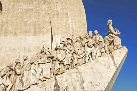 discoveries: Portugal, Lisbon: monument to the maritime discoveries; stone carved with the main figures of this historical period Editorial