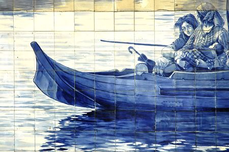 douro: Portugal, Porto: Old railway station, azulejos; the famous portuguese blue painting ceramics; image representing a traditional boat from the river douro in the north of the country; famous region  for his oporto wine