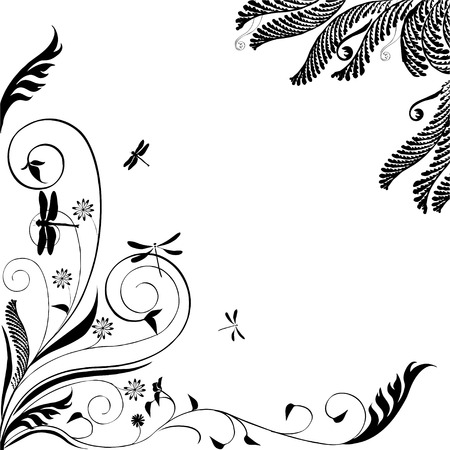 Nice Floral ornament with dragonflies: Vector in black and white Çizim