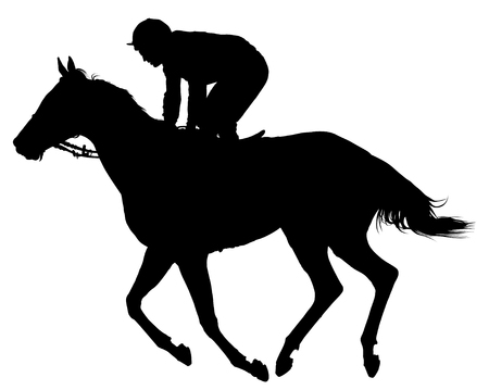 Very detailed vector of a jockey and his horse in movement; black and white vector