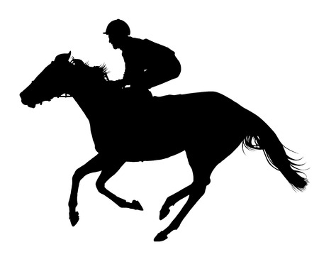 Very detailed vector of a jockey and his horse; black and white vector