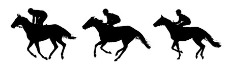 Very detailed vector of  jockeys and their horses; three horses in movement; white and black vector