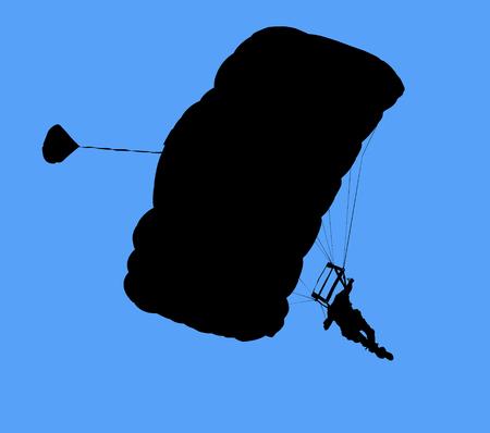 parapendio: Malaysia Kuala Lumpur International Torre Jump, blu cielo e contorno parachutes