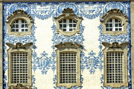 Portugal, Porto:typical potuguese ancient facade with the famous white and blue ceramics, the well known azulejos
