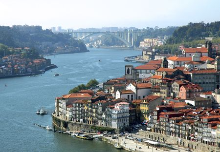 Portugal, Porto; view of the ancient city with is main river , the douro; many restaurants are located in this area as the famous oporto wine caves ;