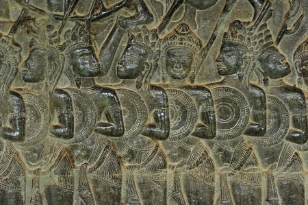 infantry: Angkor Wat is probably the biggest and the most famous temple in the world constructed in the 12th century by the king Suryavarman II. The 800 meters of the outsider walls are carved with fantastic scenes; here a scene of infantry