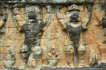 reigns: The elephant terrace constructed during the reigns of Jayavarman VII and Jayavarman VIII (12th-13th centuries) overlooking the royal square is supported by 300 meters of walls of foundation; these walls are carved with elephants, garudas and lion headed f