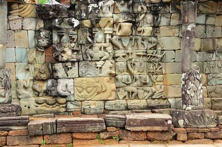 reigns: The leper king terrace constructed during the reigns of Jayavarman VII and Jayavarman VIII (12th-13th centuries) overlooking the royal square is supported by 300 meters of walls of foundation; these walls are carved with mythological figures