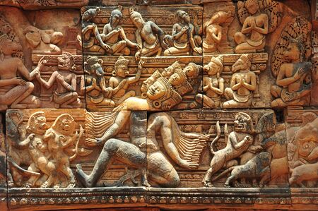 cambodia sculpture: In Cambodia, in Angkor the 10th century temple of Banteay Srey