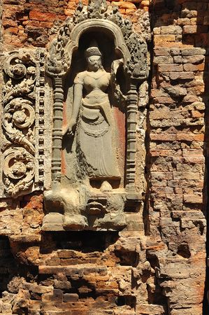 apsara: View of a carved wall with apsara