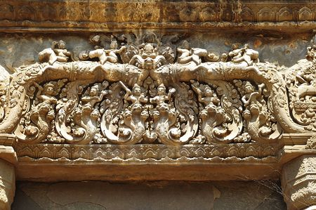 """nandi: In Cambodia in the ancient city of Roulos the Hindu temple of Preah Ko or"""" The sacred bull"""" was built in the 9th century by the king Indravarman. View of a carved lintel"""
