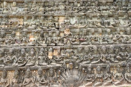 reigns: The leper king terrace constructed during the reigns of Jayavarman VII and Jayavarman VIII (12th-13th centuries) overlooking the royal square is supported by 300 meters of walls of foundation