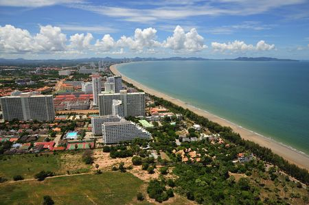 Thailand east coast; view of Jomtien and Pattaya's bay from the Pattaya park tower; the wide blue sweep bay