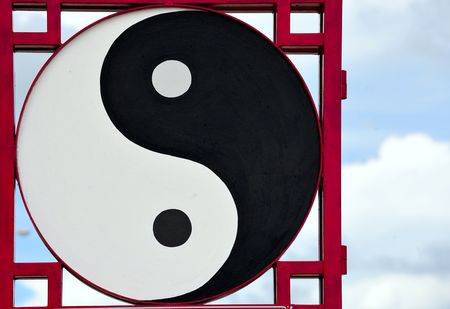 In Pattaya, Thailand, the Anek Kusala Viharasien temple and museum is a repository of art and religious statues from Thailand and China.Here the carved Chinese symbol of yin and yang photo