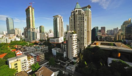 silom: In Thailand, sky view of modern Bangkok with the new constructions in the district of Silom