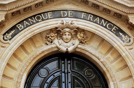 France, Paris: Architectural detail of the main entrance of the Banque de France in Paris Foto de archivo