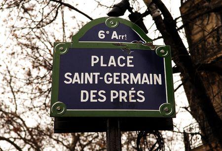 France, Paris:The Place of Saint Germain des Pres; dark blue street indication  Stok Fotoğraf