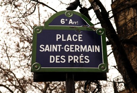 king street: France, Paris:The Place of Saint Germain des Pres; dark blue street indication  Stock Photo
